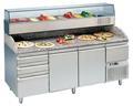 Pizzatisch 2 Türen+Schubladen 200x70x145 inkl Kühlaufsatz